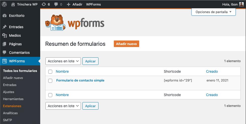 WPForms - Trinchera WP